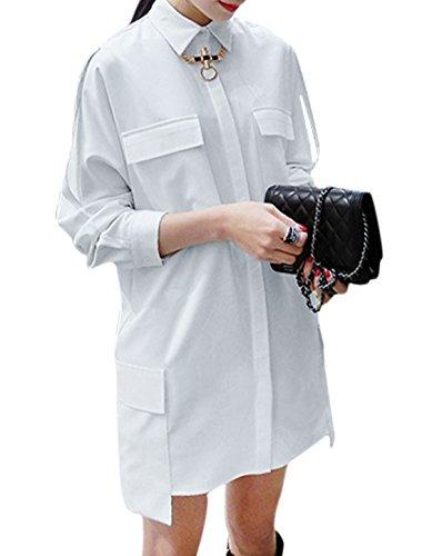 Mujer Botonadura Simple Bolsillos Front Informal Boyfriend Camisas Blanco
