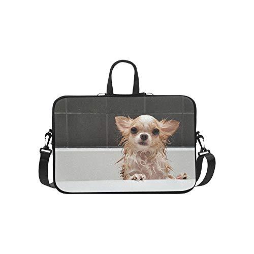 Happiness Dog Taking A Bath Pattern Briefcase Laptop Bag Messenger Shoulder Work Bag Crossbody Handbag for Business Travelling