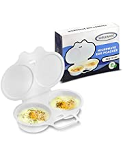 SABLEWARE Microwave Egg Poacher - Easy To Use Microwave Egg Cooker With Lid - Microwave Egg Maker Makes Perfect Eggs In Minutes - White Plastic Microwave Cookware - Microwave Safe Egg Cooker