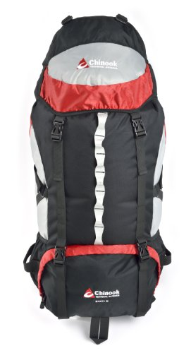 Chinook Shasta Internal Frame Expedition Pack, Red, 65-Liter