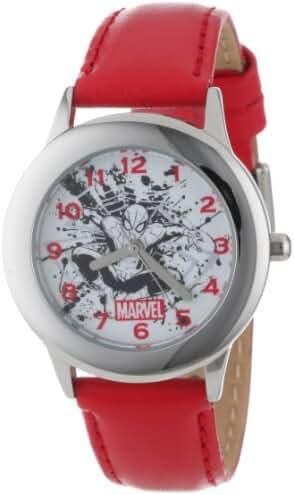 Marvel Kids' W001048 Tween Spider-Man Stainless Steel Red Leather Strap Watch