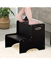 WOOD CITY Wooden Toddler Step Stool for Kids,Two Step Children's Stool with Handles, Bonus Non-Slip Pads for Safety, Bathroom Potty Stool & Kitchen Step Stools Dual Height