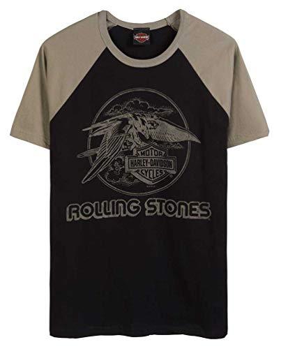 Harley-Davidson Men's Rolling Stones Jet Eagle Short Sleeve Raglan Tee (2XL) Black