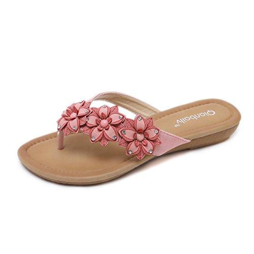 Rhinestone Flower Slide Sandal - JACKY LUYI Women Slides Sandals Summer Flowers Flip Flops Light Weight Rhinestone Beach Slippers Slipper Shoes Pink 10