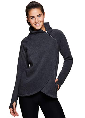 RBX Active Women's Zip Mock Pullover with Tulip Crossover Grey L