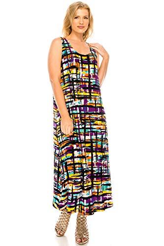 Jostar Women's Stretchy Long Tank Dress Print Large Multi Flower