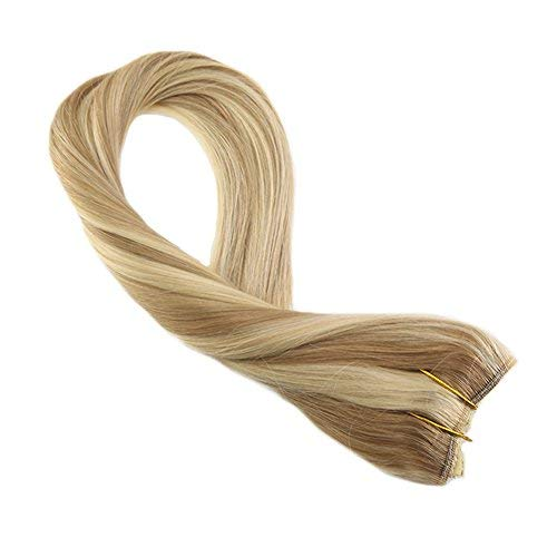 Halo Remy Human Hair Extensions 100 Grams Per Pack Hidden Crown Extensions 22 Inch Piano Color Honey Blonde #14 Mixed with Bleach Blonde #613 One Piece Hair Extensions