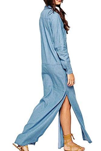 YACUN Women's Casual Long Sleeve Split Maxi Jeans Shirt Dress Blue (Yacun Women Maxi Dress)