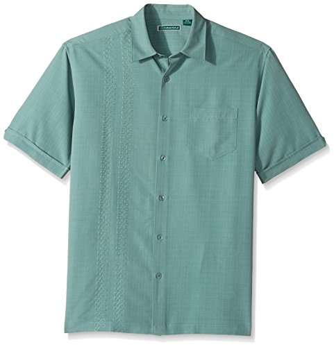 Camp Panel Shirt (Cubavera Men's Short Sleeve Rayon-Blend Cuban Camp Shirt with Block Panels, Trellis, Small)
