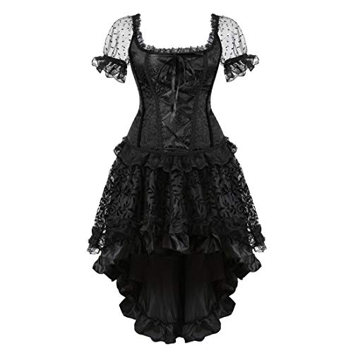 Zhitunemi Women Halloween Costume Gothic Victorian Corsets Burlesque Dresses Moulin Rouge Black Large]()