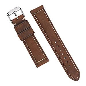 EACHE 20mm Genuine Leather Watch Band with Quick Release Spring Bar (Crazy Horse Dark Brown)