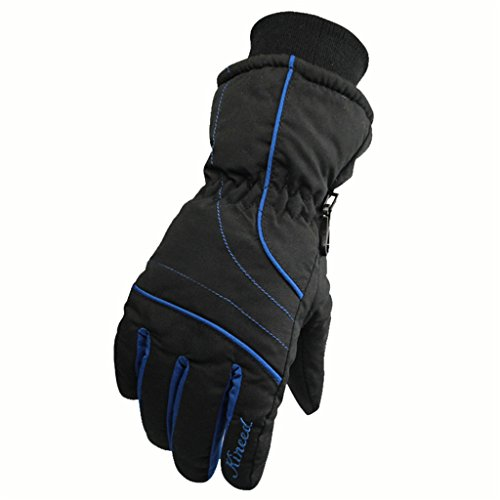 Runtlly Women's Outdoor Skiing Gloves Winter Warm Gloves Full Finger Waterproof Gloves Athletic Gloves 08-Black Blue