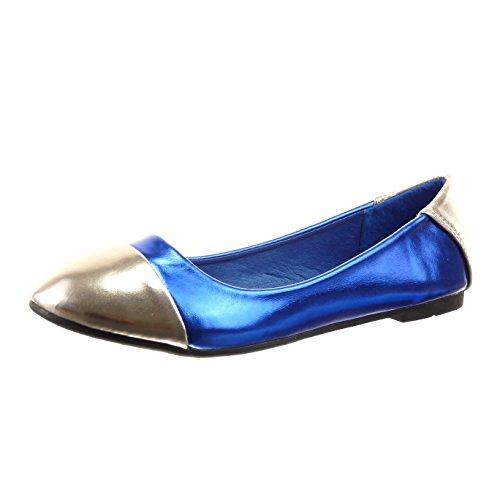 Sopily - Sapatos Da Moda Bailarina Azul Brilhante Das Mulheres