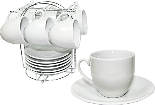 Demitasse Set with Chromed Rack. 13 Pieces