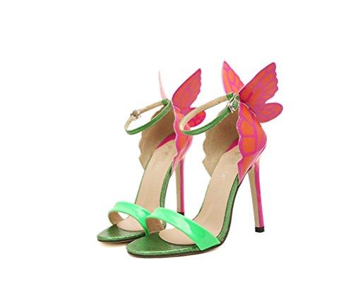 Heel Kopf Bequemer Stylisch Sandalen Runder LIANGXIE High Schmetterlingsabsatz Damen Absatz Feinem mit mit Grün XUnwqaT