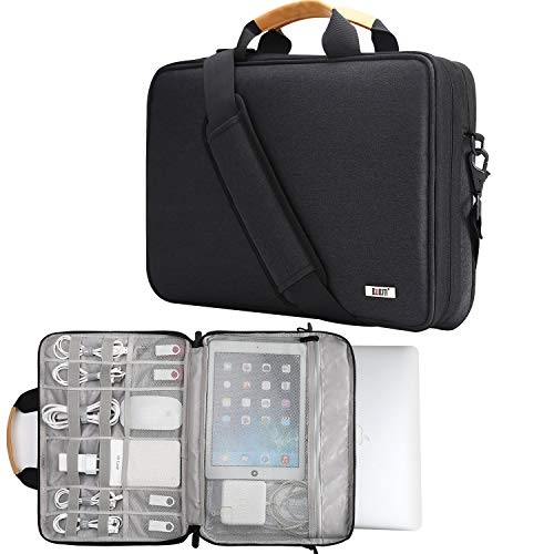 BUBM Laptop Shoulder Bag 13-14 Inch Laptop Sleeve Compatible for 13.3″ MacBook Pro,MacBook Air, 13.5″ Surface Laptop Case with Multiple Organizer Pockets, Carrying Briefcase Messenger Bag(Black)