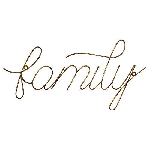 Stratton Home Decor S07688 Family Wire Script Wall Art, Gold Review