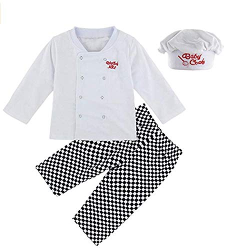 FEESHOW Infant Baby Boys Cook Chef Costumes Party Fancy Outfit Long Sleeve Top T-Shirt with Pants Hat Set White 6-12 Months