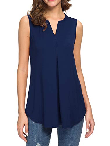 Neineiwu Women's Summer V Neck Tank Tops Loose Casual Sleeveless Shirts Blouses (Navy Blue L)