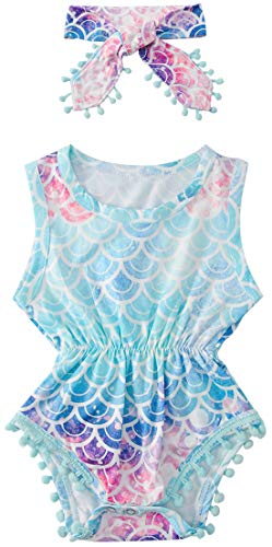 Baby Girls Romper Newborn Bodysuit Infant Jumpsuit Funny Cotton 3D Mermaid Printed Short Sleeve Outfit Comfty Cotton Playsuits Summer 18-24 Months -