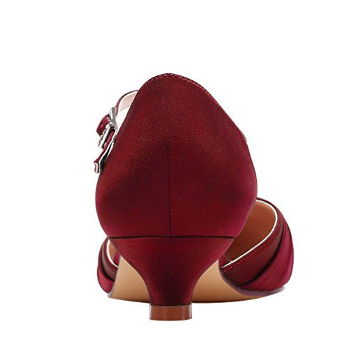 Bridal Kitten Wedding Strap Dyeable Satin Buckle Low Erijunor Women Burgundy Shoes Comfort Heel Ankle c0twyvPqW