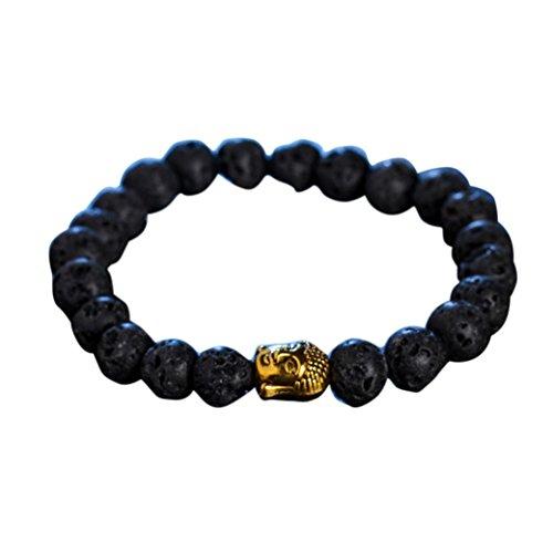Teresamoon Obsidian Lava Stone Bead Bracelets (A)