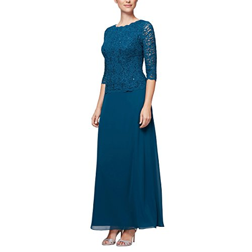Peacock Dress and with Full Mock Skirt 14P Regular Petite Long Sizes Alex Women's Evenings c4WzSqzI7