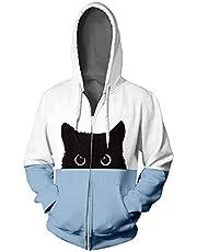Lutos Unisex Pullover,Casual Plus Size Cat Print Color Block Zipper Hoodies Sweatshirt with Pocket