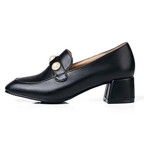 À Tire Femme Noir Chaussures Correct Légeres Carré Talon Couleur w6aq5xnP0
