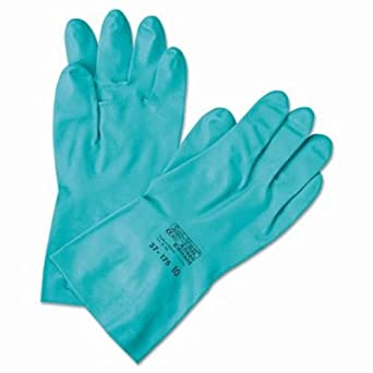 Ansell 37-155-9 Sol-Vex Unsupported Nitrile Gloves Size 9 Lined Cuff Green Pack of 12