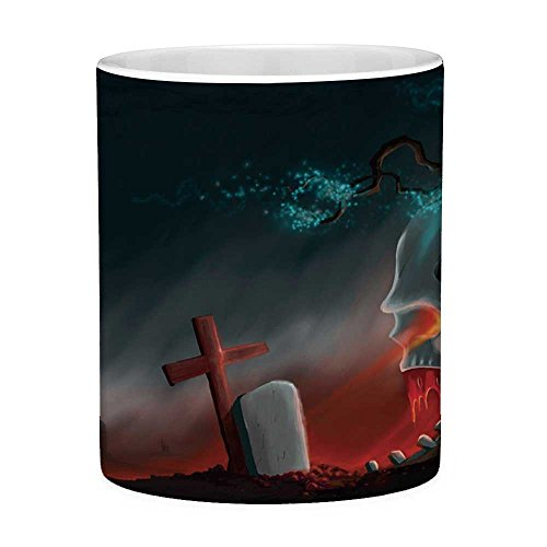 Funny Coffee Mug with Quote Halloween 11 Ounces Funny Coffee Mug Graveyard Cemetery Tree with Evil Skull Tomb Stone Cruciform Creepy Fantastic Decorative Multicolor]()