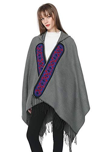 Chic Chaqueta Mujer Hippie Capa Con Jersey Estilo lana Cabo de Bohemio tnico Abrigo Frang Tops capucha Blazer Chal Invierno Elegante Gris poncho Vintage Bufanda qYat0