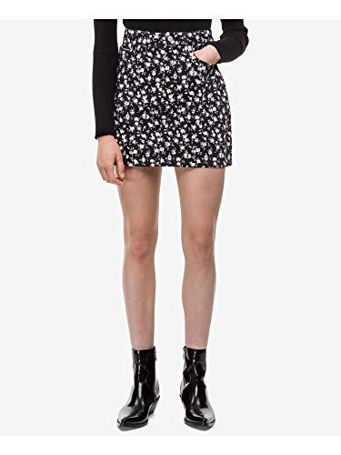 Calvin Klein Jeans Women's Denim Mini Jean Skirt, Large Black Floral, 29