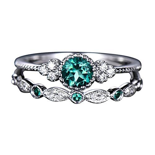 Mortilo Diamond Rings, Fashion Luxury Elegance Fashion Many Kinds of Diamond Rings for Women Girls(Fashion Ring-Green,6)