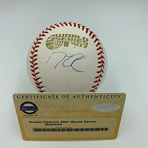 Dustin Pedroia Autographed Baseball - Official 2007 World Series COA - Steiner Sports Certified - Autographed Baseballs
