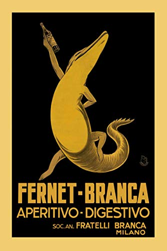 """Fernet Branca POSTER Alligator Aperitive Digestivo Liquor Drink Milano Milan Italy Italia Vintage Poster Repro 12"""" X 16"""" Image Size. We Have Other Sizes Available!"""