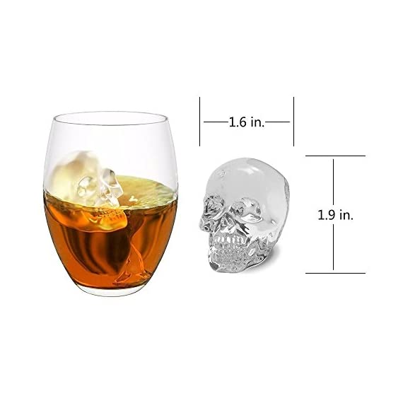 "3D Skull Ice Mold-2Pack,Easy Release Silicone Mold,8 Cute and Funny Ice Skull for Whiskey,Cocktails and Juice Beverages,Black 3 2 pack ice mold :eight giant skull shape ice cubes (2"" X 2.5"") make your drink look awesome. Great for parties, bars, restaurants, summer, holiday events and holiday gifts. Reliable material: food grade silicone. Non-toxic.100% safe to use. Non-stick materials. Easy to make a full skull ice.This durable and flexible silicone ice tray won't crack or break like plastic ice tray; easy to fill, remove and clean. Multiple use: it can also be used as mousse mold, sugar mold, chocolate, ice cream, soap making tools. And it is fantastic to be used in various occasions like parties, beaches, wine party and holiday events etc."