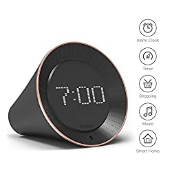 Vobot Smart Alarm Clock with Amazon Alexa[Touch-Initiate], 5W Speaker, LED Display, White Noise Machine, Timer/Date/Weather/Daily News/Radio/Music(Amazon Music, iHeartRadio, TuneIn etc)