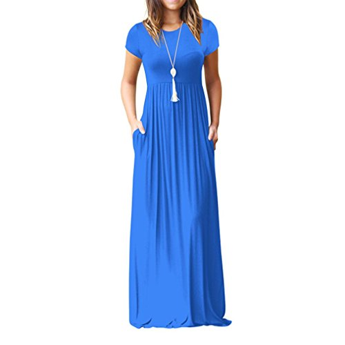 Howstar Women's Casual Long Dress Solid Short Sleeves Maxi Dresses for Ladies Party Dress with Pockets (M, Blue) (Summer Blue Dress)