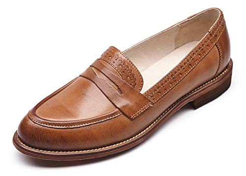 Honeystore Women's Retro Brogue Carving Penny Loafer Leather