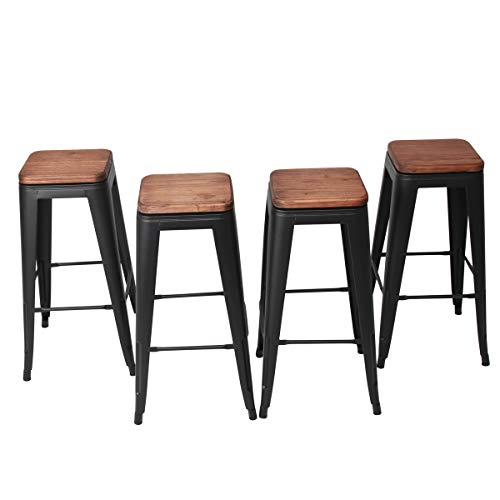 0 Inch Swivel Metal Bar Stool Stack-able for Indoor-Outdoor Kitchen Counter Barstools Set of 4­ (30 inch, Swivel Matte Black Wooden) ()