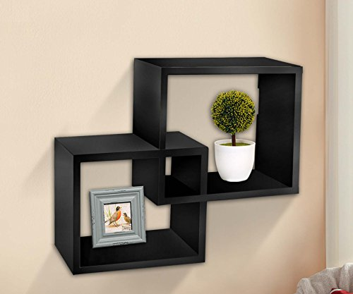 R Home Decor Intersecting Squares Decorative Wall Shelf