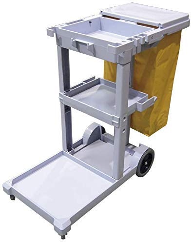 Cleaning Cart with Bag and Lid Grey
