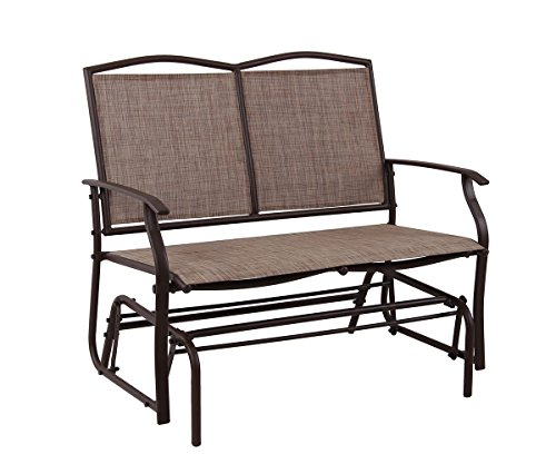PHI VILLA Patio Swing Glider Bench For 2 Persons Rocking Chair, Garden Loveseat Outdoor Furniture ()