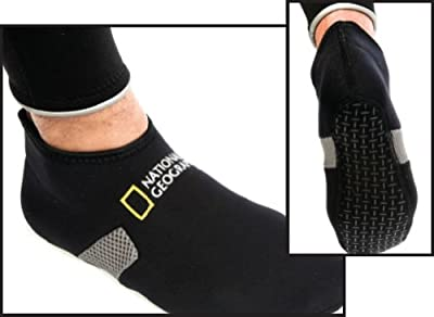 National Geographic Fitted Low Cut 2 mm Fin Socks, Booties for Snorkeling, Scuba, or Swim