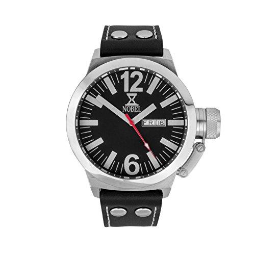 NOBEL Classic Wrist Watch with Black Leather Bracelet for Unisex - Ronda Swiss Movement