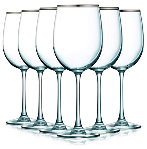 Banded Platinum Wine Glasses with Beautiful Colored Stem Accent - 19 oz. set of 6- Additional Vibrant Colors Available ()