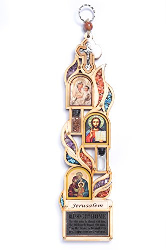 Anandashop-UK- Large Wood Plaque Jerusalem Maria Icon Jesus Crucifix Home Blessing With Semi Precious Stones Wall Hanging