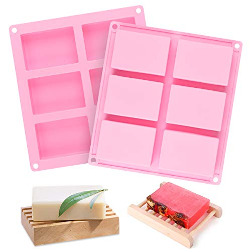 SJ Rectangle Silicone Soap Molds, 2 Pcs 6-Cavity Silicone Molds Square Loaf Muffin Baking Pans, Chocolate Cheesecake Making Trays, Ice Cube Trays, Nonstick & BPA Free (Pink)