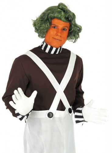 Oompa Loompa Factory Worker Costume (Fun Shack Adult Oompa Loompa Factory Worker Costume With Wig - X Large)